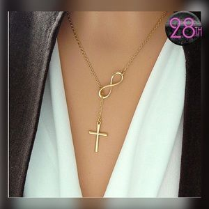 Christian Silver, Gold Infinity Cross Necklace